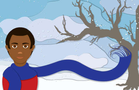 branch cut: A man wearing an long blue scaft blowing in the frosty winter wind along with snowflakes and a bare tree to the side in this cuppaper style illustration.