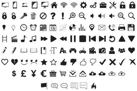 A set of 102 assorted user interface icons in a simple falt style. Illustration