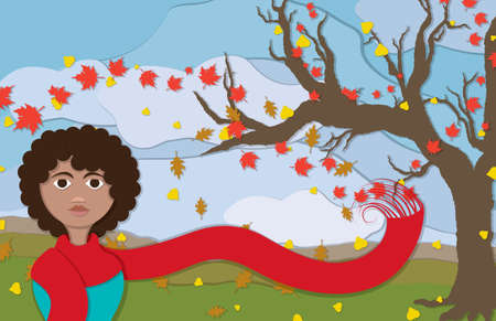 A woman wearing an long red scaft blowing in the wind along with warm colored autumn leaves with a bare tree to the side in this cuppaper style illustration. Illustration