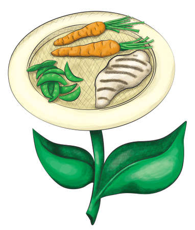A plate of fresh chicken peas and carrots sprout form a leafy stem in a hand drawn ink and watercolor style.