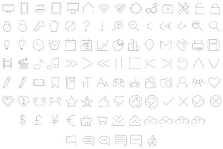 ios: A set of 102 assorted user interface icons in a minimal style.