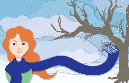 frigid: A lady wearing an long blue scarf blowing in the frosty winter wind along with snowflakes and a bare tree to the side in this cuppaper style illustration.