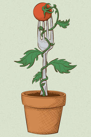 A potted tomato vine winds up a fork with a cherry tomato on top in a hand drawn vintage style with earthy neutral colors.