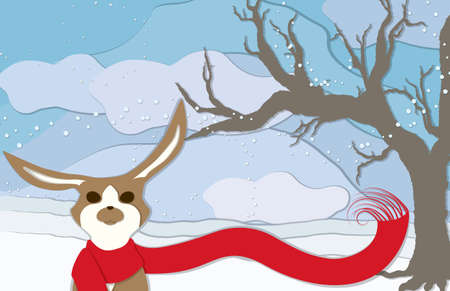 A brown and white rabbit wearing an long red scaft blowing in the wind along with snowflakes with a bare tree to the side in this cuppaper style illustration. Illustration
