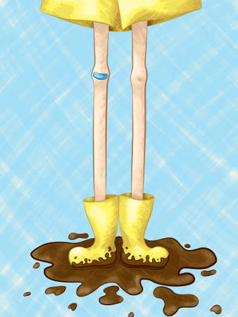 A hand drawn vector illustration of a pair of long lanky legs with muddy rubber boots standing in a mud puddle.