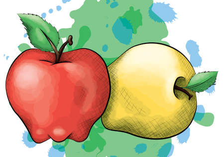 cross hatching: A vector illustration of a red and yellow apple in an ink and watercolor style on a splattered background.