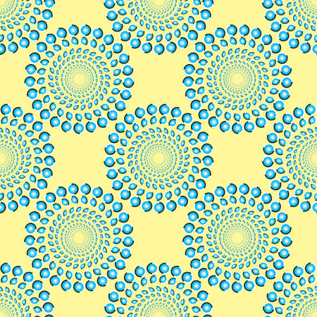 A vector illustration of a radial pattern of blue shapes that appear to rotate.  This image can be tiled seamlessly. Çizim