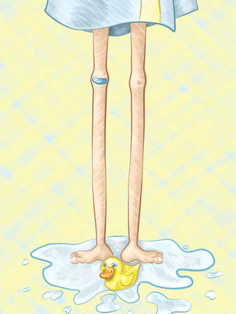 ducky: A hand drawn vector illustration of a pair of long, lanky legs standing in a puddle of water with a yellow rubber ducky.