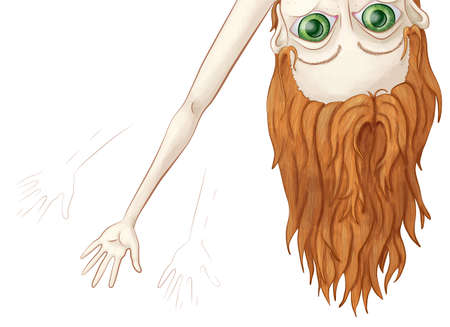 A hand drawn illustration of a young girl with large eyes and long arms upside-down peeking over the top of the art board waving.
