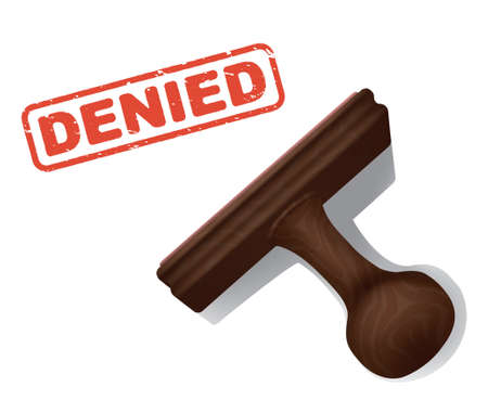 A realistic illustration of the word DENIED stamped in red by a rubber stamp with a wooden handle.