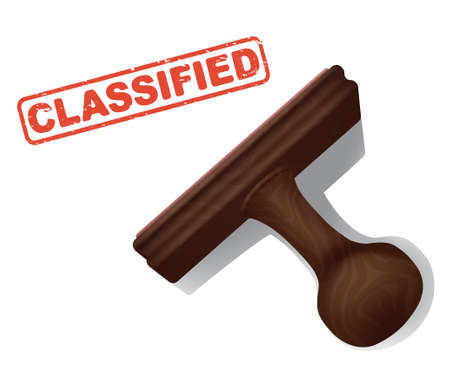 A realistic vector illustration of the word CLASSIFIED stamped in red by a rubber stamp with a wooden handle. Illustration