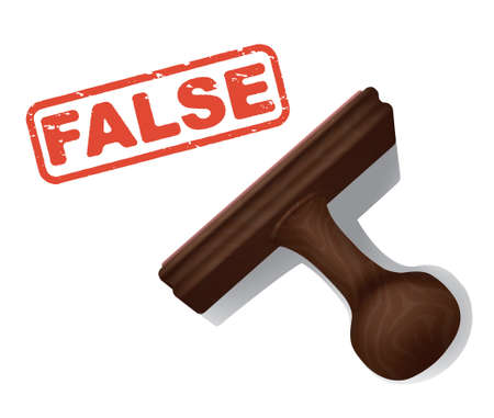 validate: A realistic illustration of the word FALSE stamped in red by a rubber stamp with a wooden handle. Illustration