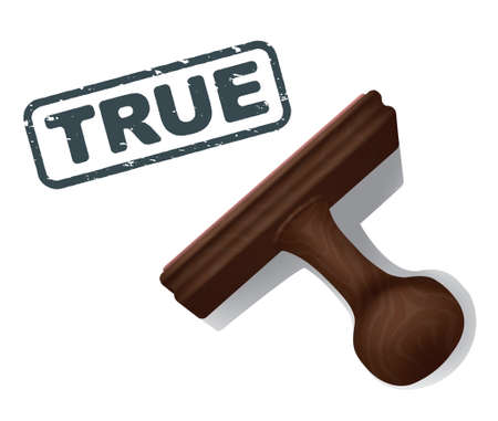validate: A realistic illustration of the word TRUE stamped in black by a rubber stamp with a wooden handle.
