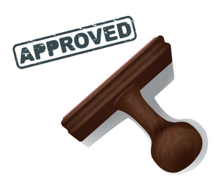 eroded: A realistic illustration of the word APPROVED stamped in black by a rubber stamp with a wooden handle. Illustration