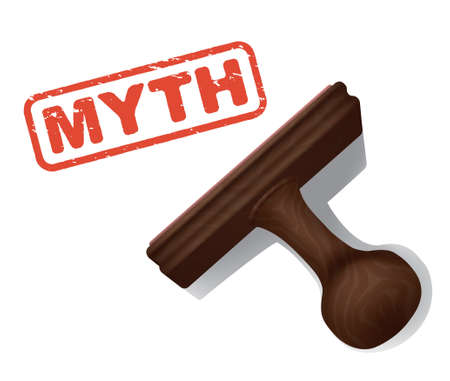 validate: A realistic illustration of the word MYTH stamped in red by a rubber stamp with a wooden handle.