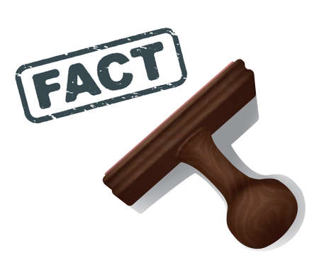 A realistic illustration of the word FACT stamped in black by a rubber stamp with a wooden handle. Illustration