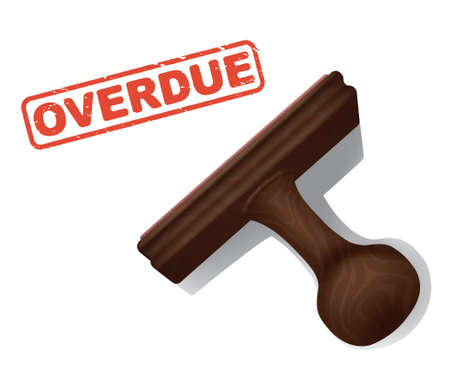 A realistic illustration of the word OVERDUE stamped in red by a rubber stamp with a wooden handle.