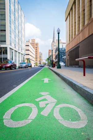connective: Bike Lane Connective Corridor in City Streets in Syracuse New York