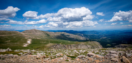 mount evans: Rocky Mountains Trees and Rocks on Mount Evans in Colorado Blue Sky Stock Photo