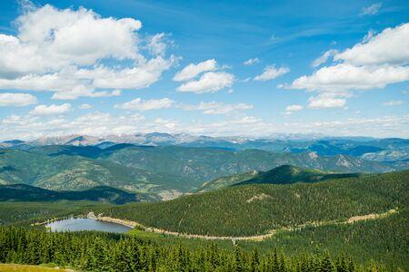 denver parks: Rocky Mountains Trees and Rocks in Colorado Blue Sky