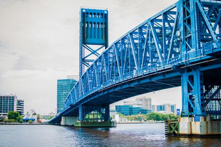 Blue Main Street Bridge Across St. Johns River in Jacksonville Florida