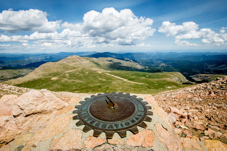 byway: Rotary International Sundial at the Top of Mount Evans Scenic Byway Stock Photo