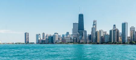 Daytime Horizontal Photo of Chicago Skyline with Water Stock Photo