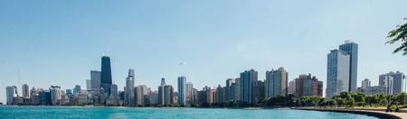 Daytime Horizontal Photo of Chicago Skyline Stock Photo