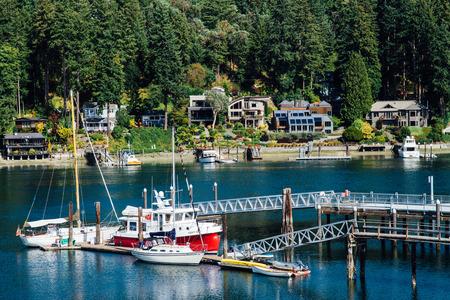 gig harbor: Houses and Boats in Marina at Gig Harbor, Washington