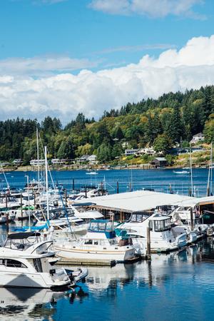 gig harbor: Vertical Image of Boats in Marina at Gig Harbor, Washington