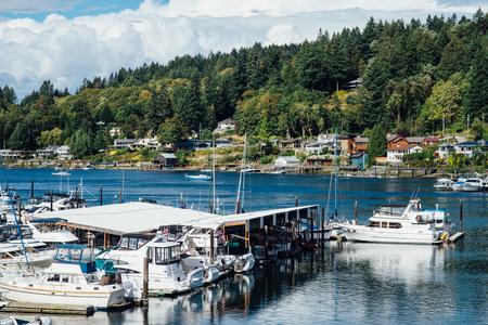gig harbor: Boats in Marina at Gig Harbor, Washington Stock Photo