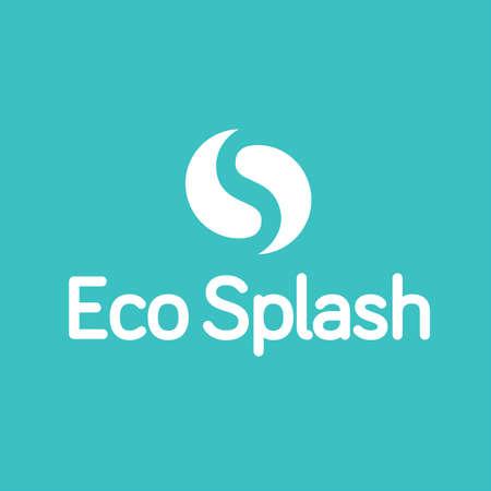 Eco Water Splash goccia Ying Yang Logo Archivio Fotografico - 65286891