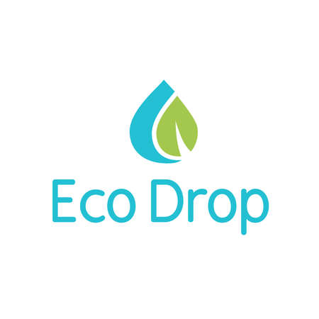 Eco Water Drop Droplet Splash Leaf Logo Иллюстрация