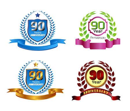 90 years: 90 anni anniversario corona di alloro vettoriale