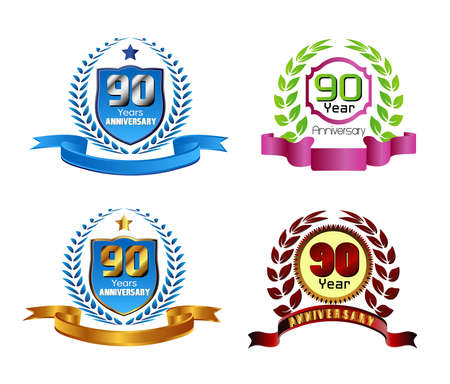 90 years: 90 years anniversary laurel wreath vector