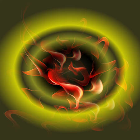 fireside: Abstract burning fire circle green background Illustration