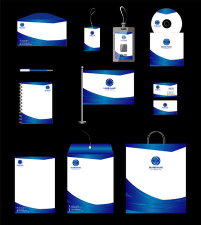 Blue business stationery template for corporate identity and branding Illustration