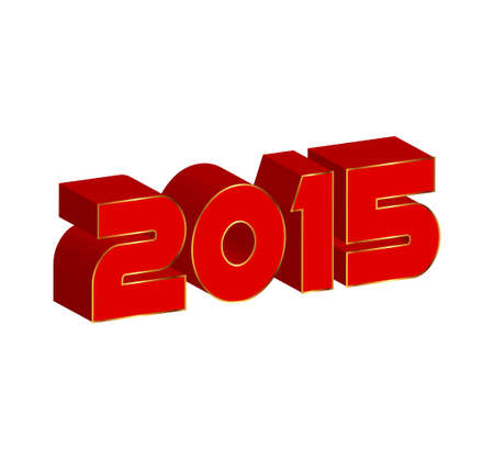 happy new year text: 3d text 2015 happy new year vector