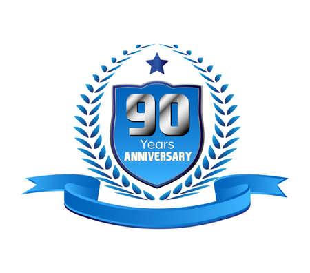 90 years: 90 anni di anniversario Vettoriali