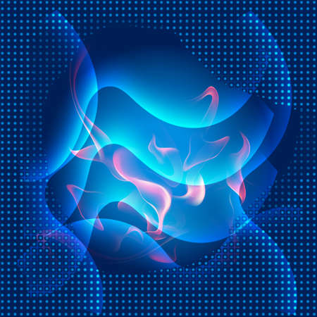 angled: Abstract blue curves fire background