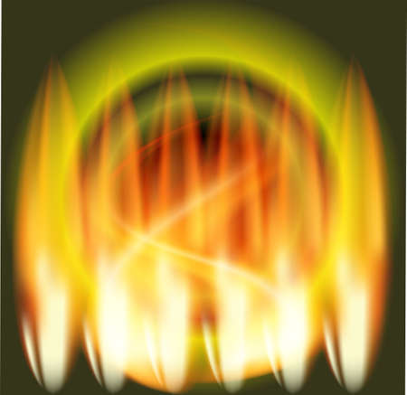 fire circle: Abstract fire circle green background Illustration