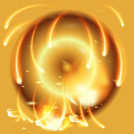 conflagration: Abstract gold background with vector flames and firework sphere