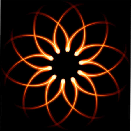 Black background with Fire Flower vector Vector