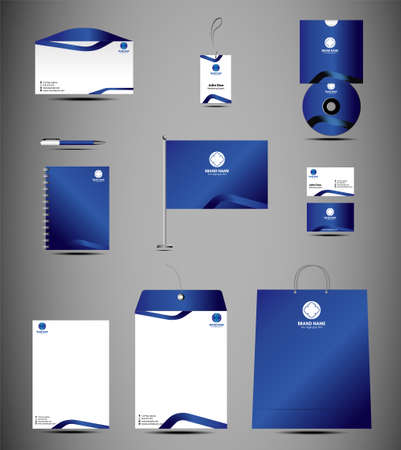 Blue stationery template design Vector
