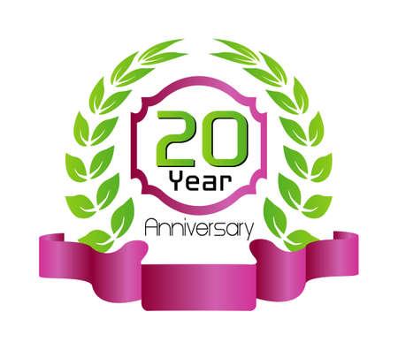 tenth birthday: Celebrating 20 Years Anniversary Illustration