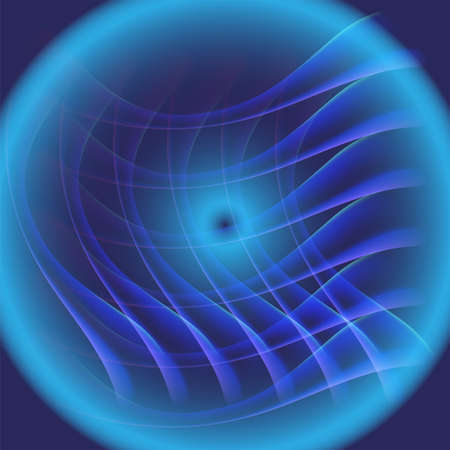 Circle light Abstract waves grid on blue background Vector