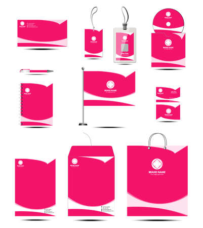 Clean corporate identity stationery template with pink color Vector