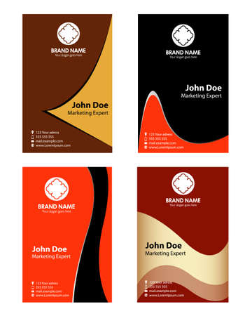 Collection abstract professional business cards or visiting cards Vector