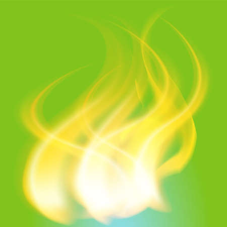 engulfed: Fire Flames on the green background