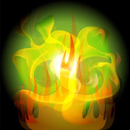 fireside: Fire yellow abstract dark green background